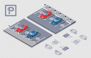 Isometric Electrocar parking