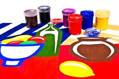 "Картина, постер, плакат, фотообои ""Бутылки с Краски гуашевые художественные картины."", артикул 77980028"
