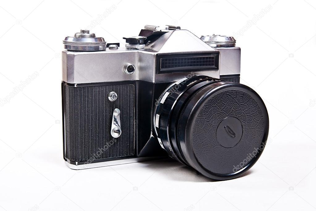 Alten entfernungsmesser jahrgang kamera auf weißem hintergrund