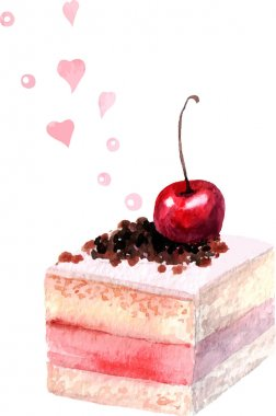 watercolor piece of cake