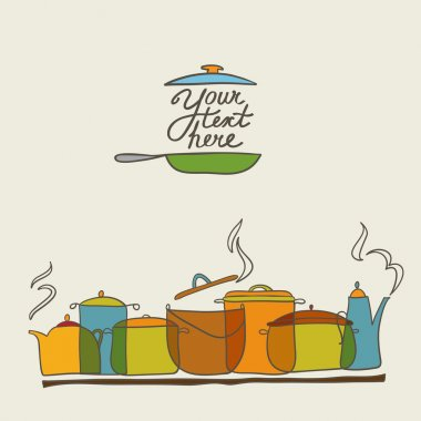 colorful saucepans card with teapot