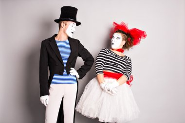 Two mimes man and  woman. April Fools Day concept