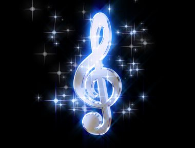 Treble clef, surrounded by stars