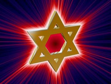 among rays of gold Star of David