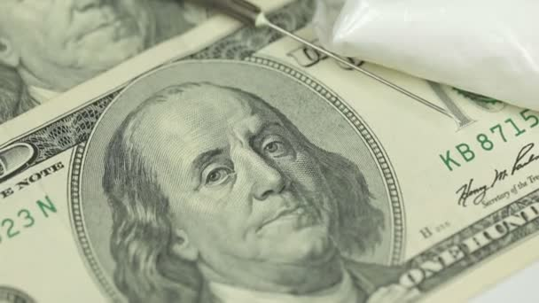 Close Up Money, Drugs, Heroin, dollars, syringe
