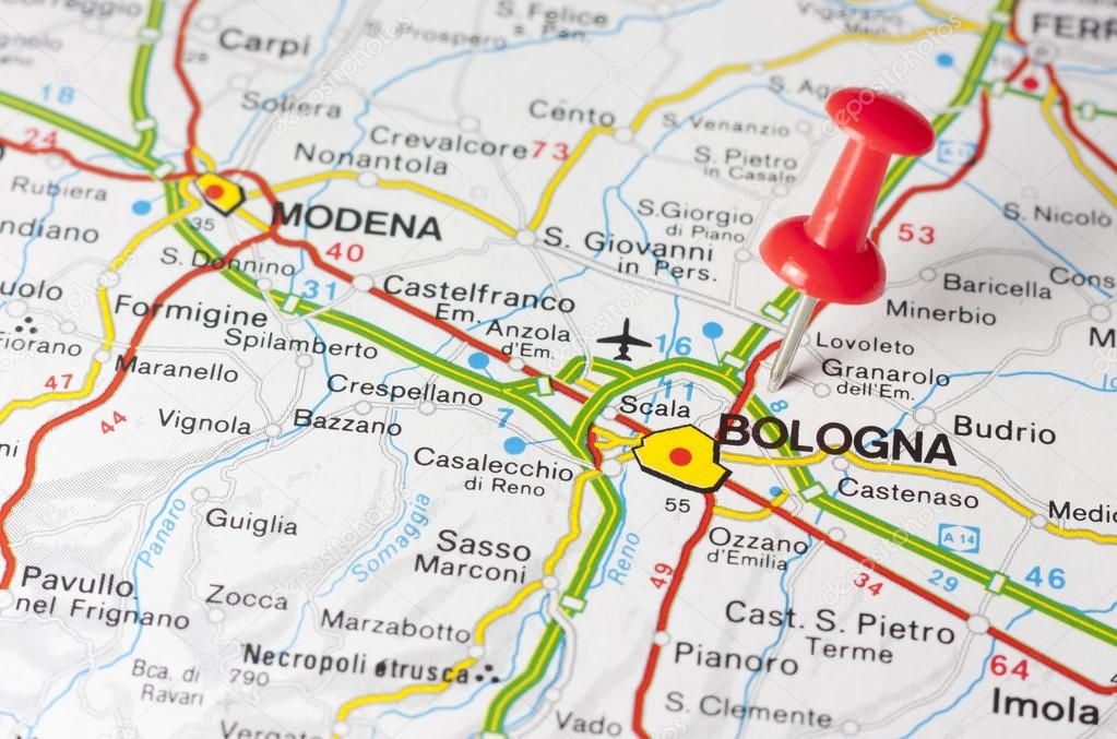Bologna On Map Of Italy.Bologna City On A Road Map Stock Photo C Maior 72402297