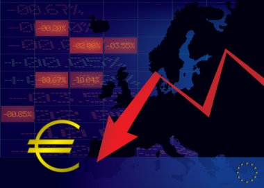 Euro currency decline illustration