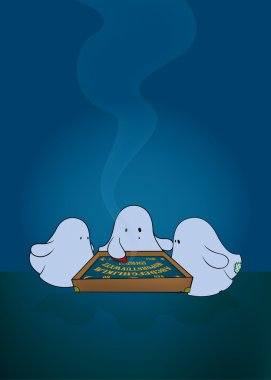 Three cute ghosts around ouija board