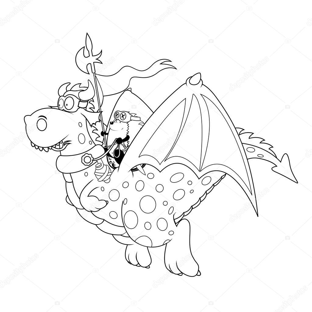 Erizo el jinete de dragón — Archivo Imágenes Vectoriales © mangulica ...