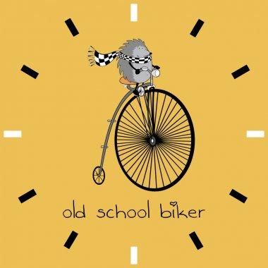 hedgehog riding old bike
