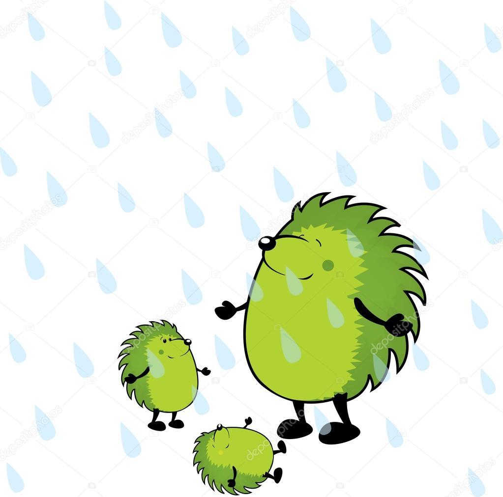 cute looking green hedgehogs