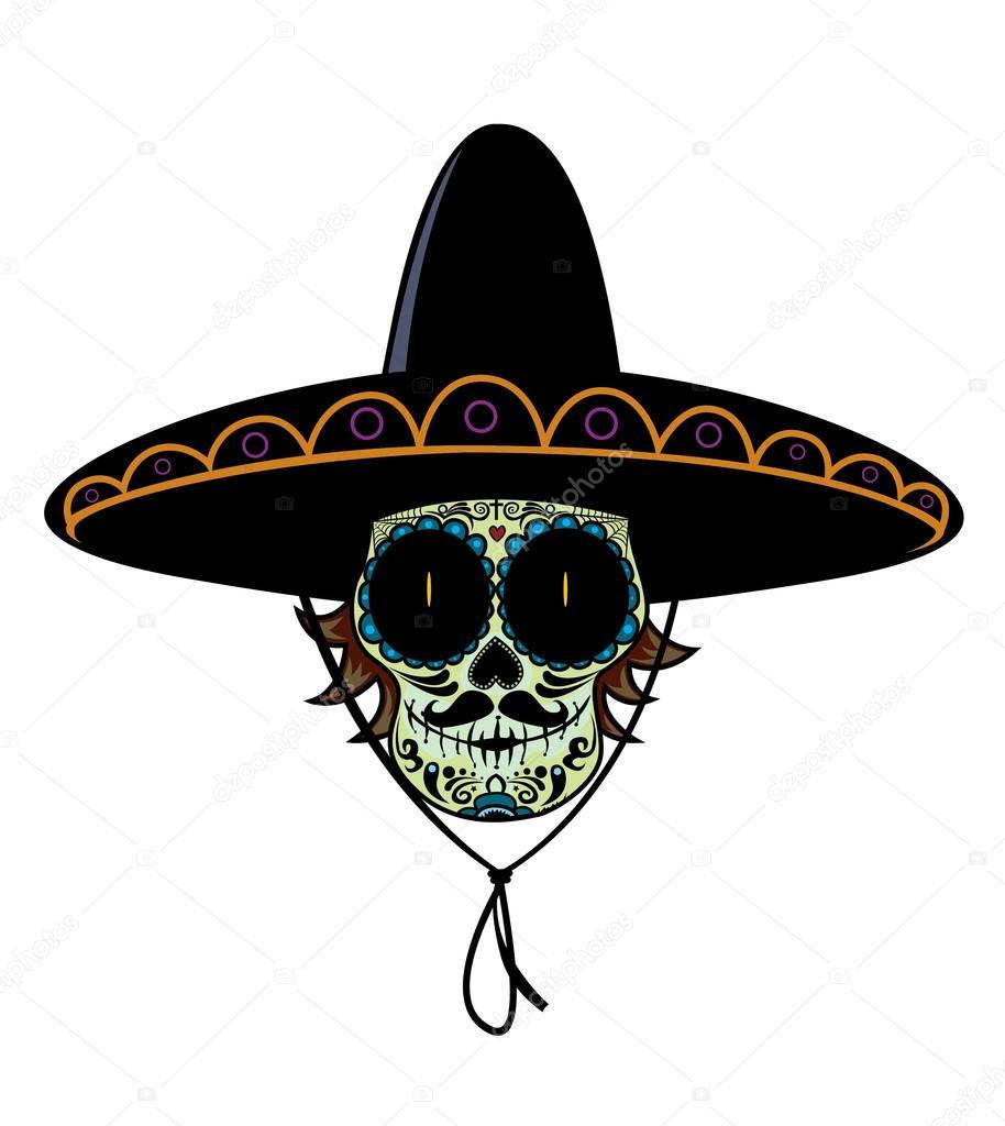 Calavera Mexicana Con Sombrero Archivo Imágenes Vectoriales