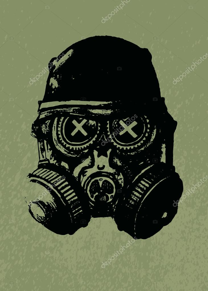 Gas Mask Skull With Helmet Pencil Drawing Illustration Vector By Mangulica