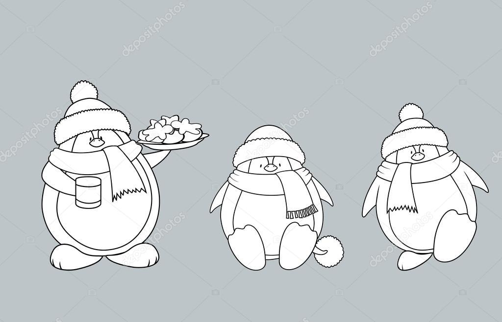Pingüinos de la Navidad para colorear libro — Archivo Imágenes ...