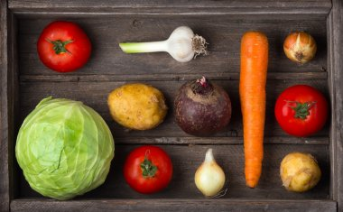 Ingredients for borscht, beetroot soup, beet soup. Harvest veget