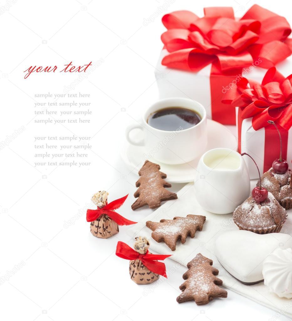 Süßigkeiten und Geschenke für Weihnachten-Tabelle — Stockfoto ...