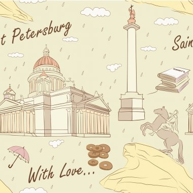 Saint Petersburg seamless pattern. Vector illustration. clip art vector