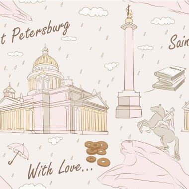 Saint Petersburg seamless pattern. Vector illustration clip art vector