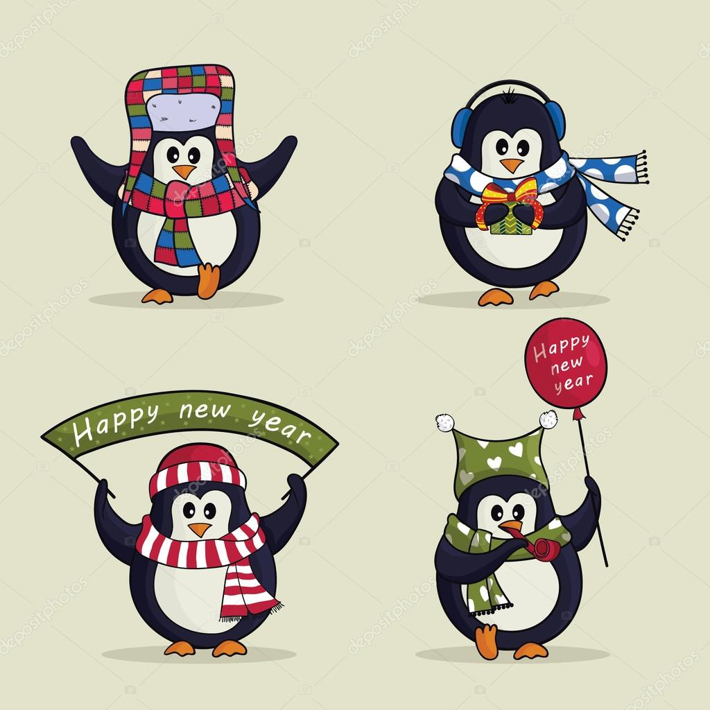 christmas set of cute penguins vector illustration stock vector