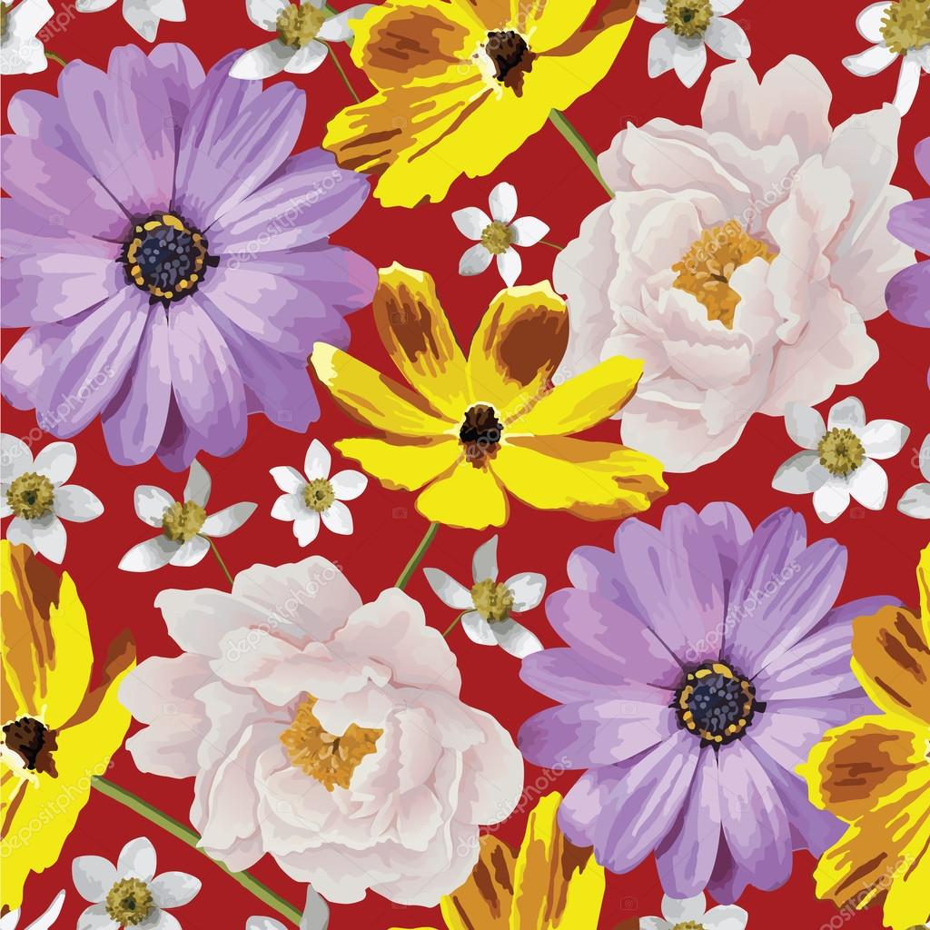 Elegance seamless color flower pattern on the white background. EPS ...