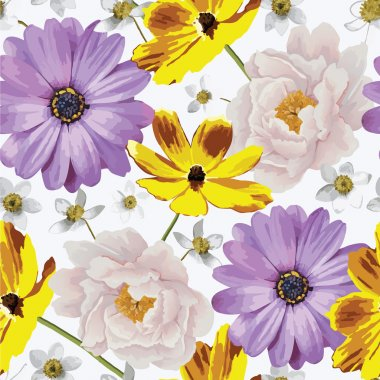 Elegance seamless color flower pattern on the white background. EPS 10