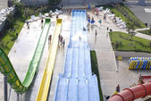 Exit from giant water slide on a beautiful and sunny day in one of the recreation centers in Bulgaria