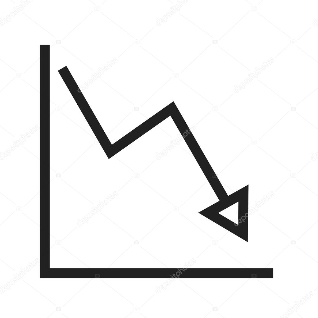declining line graph icon — stock vector © dxinerz #109231616