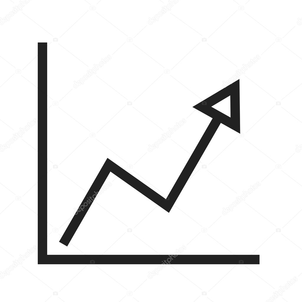 rising line graph icon — stock vector © dxinerz #109234010