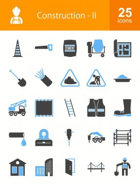 Construction and Building icons set. Suitable for web apps, mobile apps and print media. clip art vector