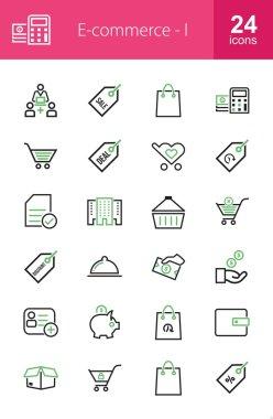 E-commerce, shopping, business icons set