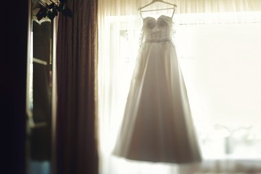 Beautiful elegant white wedding dress