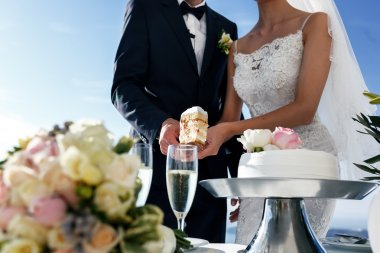 Bride and groom carving wedding cake