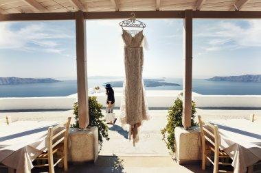 Elegant vintage white wedding dress
