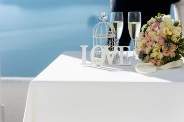 Closeup of table at wedding ceremony