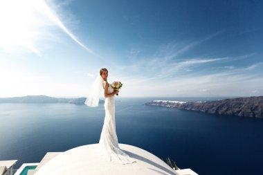 Romantic beautiful bride in white dress