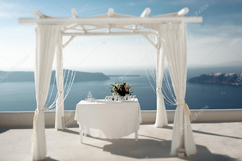 Beautiful elegant wedding tent aisle at coast with sea and mountains background u2014 Photo by olexiysyrotkin & Beautiful elegant wedding tent aisle u2014 Stock Photo ...