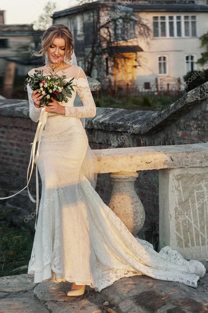 Beautiful Blonde Princess Bride Posing Near Baroque Christian Church U2014  Photo By Olexiysyrotkin