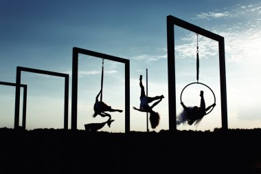 Beautiful dancers silhouettes