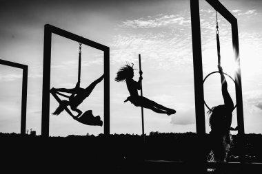 Beautiful dancers silhouettes