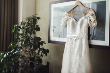 Stylish vintage white wedding dress