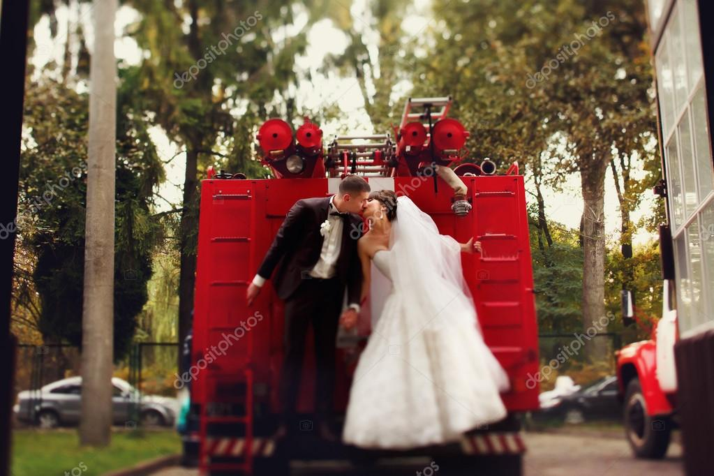 wedding couple on fire truck