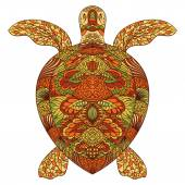 Photo Turtle decorated with oriental ornaments. Vintage colorful hand drawn vector illustration