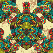 Photo Turtle decorated with oriental ornaments. Vintage colorful seamless pattern. Hand drawn vector illustration