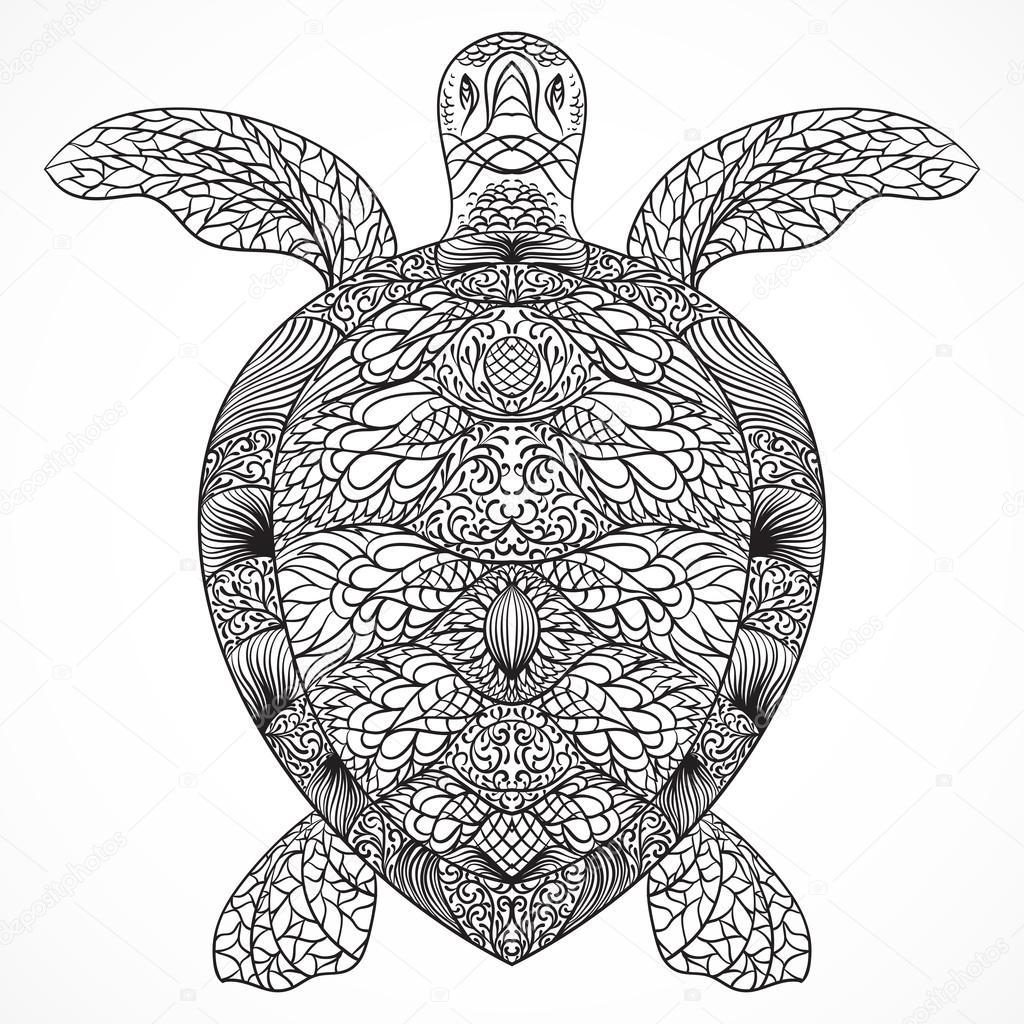 Schildkröte mit orientalischen Ornamenten verziert. Alte schwarz ...