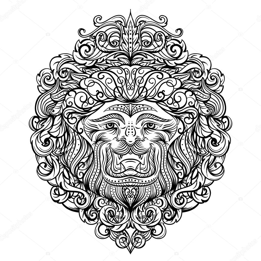 t te de lion avec ornement abstrait art de tatouage vintage design carte imprimer t shirt. Black Bedroom Furniture Sets. Home Design Ideas