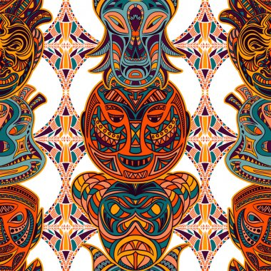 Seamless pattern with tribal mask and aztec geometric latin American ornament. Colorful hand drawn vector illustration