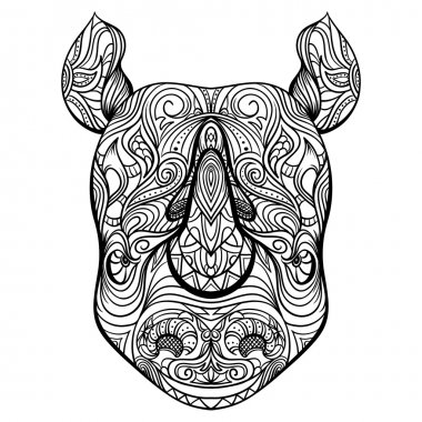 Rhino head with ornament. Tattoo art. Retro banner, card, scrap booking. t-shirt, bag, postcard, poster.Highly detailed vintage black and white hand drawn vector illustration