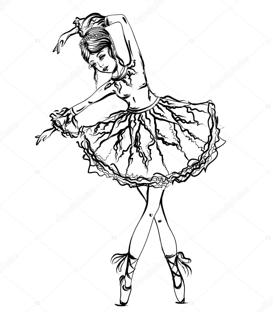 Ballerina Vintage Black And White Hand Drawn Vector Illustration