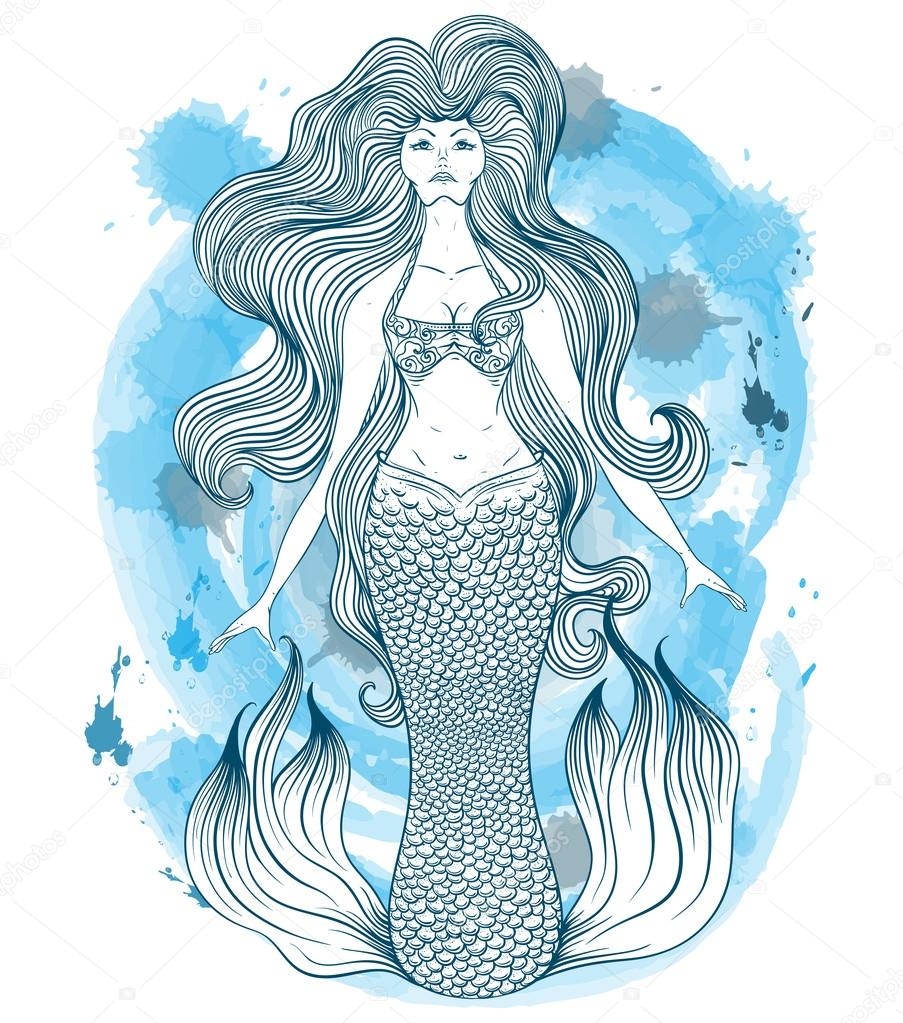 Mermaid with beautiful hair tattoo art retro banner invitation retro banner invitationcard scrap booking t shirt bag postcard poster vintage highly detailed hand drawn vector illustration on watercolor stopboris Gallery