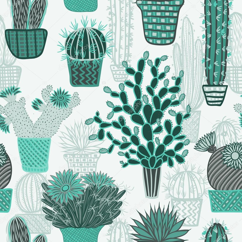 Seamless pattern with succulents cacti plant and cactuses in pots. Vector botanical graphic set with cute home florals.